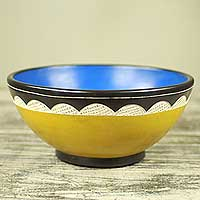 Wood decorative bowl, 'Village Color' - Handcrafted Yellow and Blue Wood Bowl from Africa