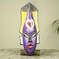 African wood mask, 'Because of Love' - Handcrafted Purple African Mask with Hearts