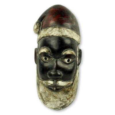 African wood mask, 'Ghanaian Santa Claus' - Artisan Hand Carved Unique Santa Claus African Mask