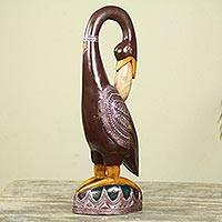 Wood sculpture, 'Brown Ashanti Bird' - Hand Carved African Wood Bird Sculpture with Repousse