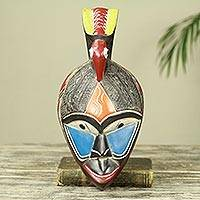 African wood mask, 'Bowing Bird' - Colorful Modern Hand Crafted African Mask