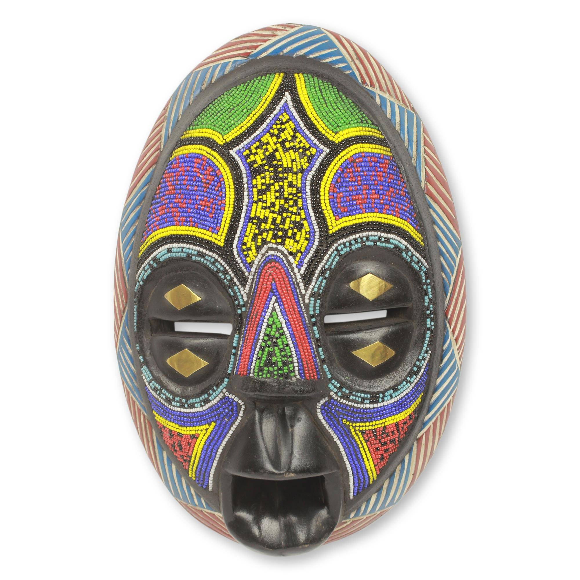Beaded Black Wood African Mask With