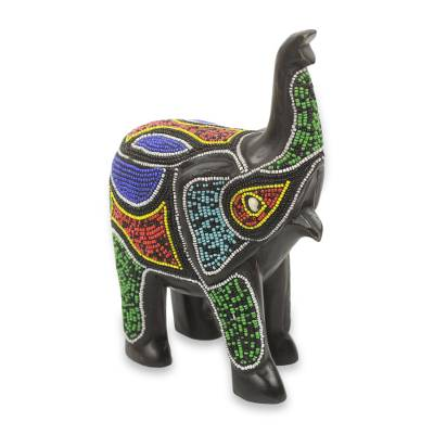 Wood sculpture, 'Beaded Black Elephant' - Beaded Black Wood African Elephant Sculpture