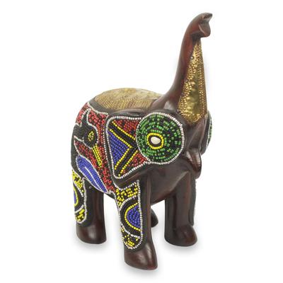 Brass Inlay Beaded Wood African Elephant Sculpture