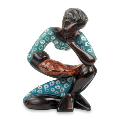 Wood sculpture, 'Thinking Mother' - Mother and Child Modern Wood Sculpture Carved by Hand