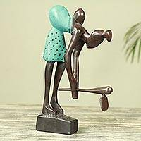 Wood sculpture, 'Motherhood and Farming' - African Wood Sculpture Mother and Child Carved by Hand