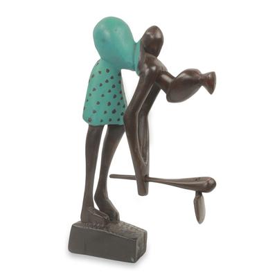 Wood sculpture, 'Motherhood and Farming' - African Wood Sculpture Mother and Child Carved by Hand