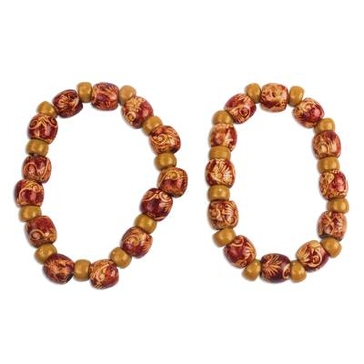 2 Red and Brown Floral Beaded Wood Stretch Bracelets