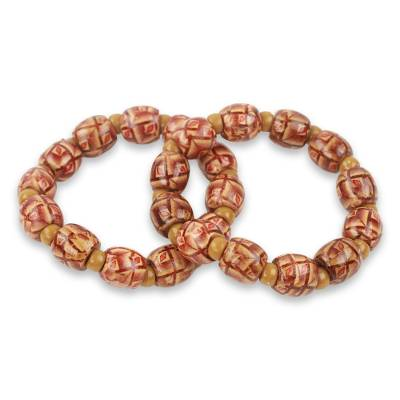Ghana Hand Crafted Wood Stretch Bracelets (Pair)