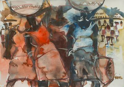 'Busy Day II' - Watercolor African Village Scene in Primary Colors