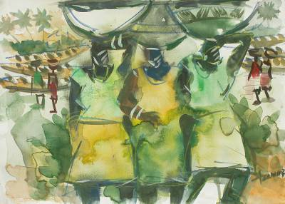 'Busy Day I' - African watercolour Painting in Shades of Green