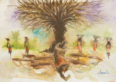 'Calabash Market' - Watercolor Painting of Women in an African Village