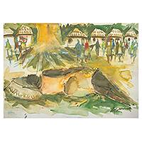 'Day of Rest II' - West African Village Scene in Watercolors