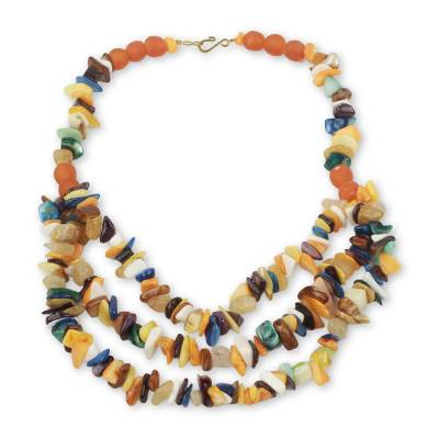 Hand Crafted Multi Color Agate Beaded Necklace