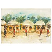 'Market Gesture II' - Watercolor African Village Scene in Watercolors