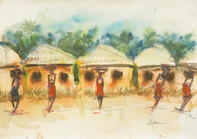 'Market Gesture II' - Watercolor African Village Scene in Watercolors