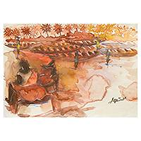 'Moments of Expectation' - Watercolor Painting of a Fishing Village in Earth Colors