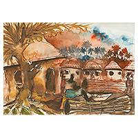 'Night Market' - Original watercolour Ghana Market Painting