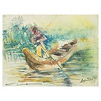 'Sailing IV' - Ghanaian Signed River Scene Painting in Watercolors