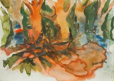 'Sunset Discovery I' - Wet on Wet watercolour Landscape Painting from Africa