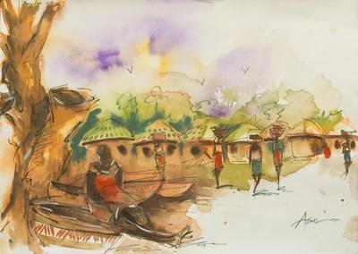 'Village Market' - Watercolor Painting of Ghanaian Village Women Signed Art