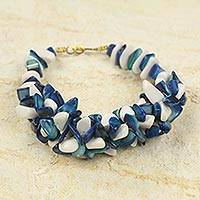 Agate beaded bracelet, 'Emefa' - Blue and White Agate Beaded Bracelet Handcrafted in Ghana