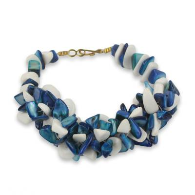 Blue and White Agate Beaded Bracelet Handcrafted in Ghana