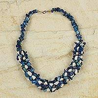 Agate beaded necklace, 'Emefa' - Blue and White Agate Beaded Necklace Handcrafted in Ghana