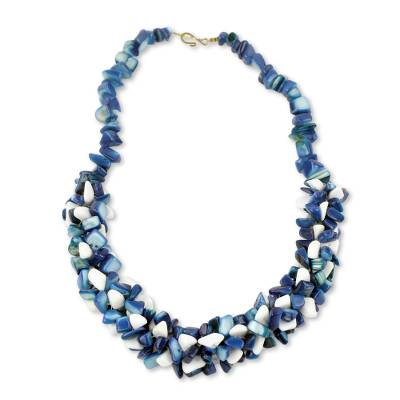 Blue and White Agate Beaded Necklace Handcrafted in Ghana