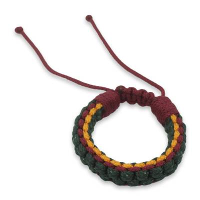 Green Yellow and Wine Cord Wristband Bracelet for Men