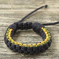 Men's wristband bracelet, 'Navy Awindazi' - Navy Blue Yellow and Green Cord Wristband Bracelet for Men