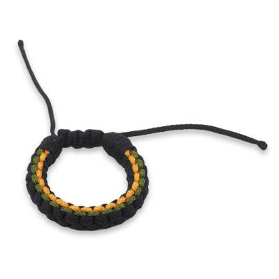 Navy Blue Yellow and Green Cord Wristband Bracelet for Men