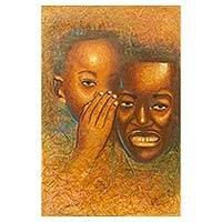'Private and Confidential' - Friends Whispering Portrait Signed Painting from Ghana
