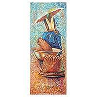 'Waiting for the Manna' - African Contemporary Art Signed Painting from Ghana