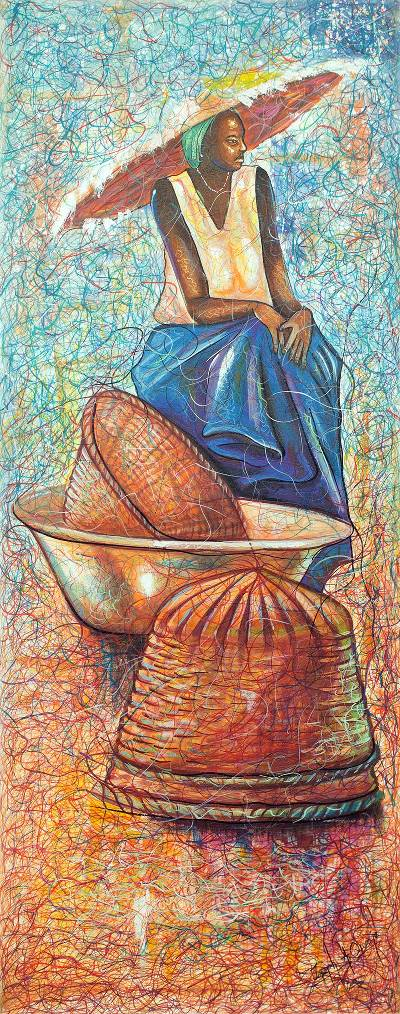 African Contemporary Art Signed Painting from Ghana
