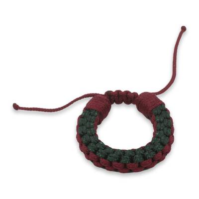 Men's wristband bracelet, 'Awindazi Forest Wine' - Hand Crafted Cord Wristband in Forest Green and Wine