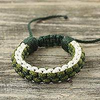 Men's wristband bracelet, 'Snow Green Awindazi' - Green and White Cord Wristband Bracelet for Men