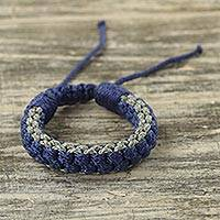 Men's wristband bracelet, 'Awindazi Mist' - Men's Hand Crafted Cord Wristband Bracelet Blue and Grey