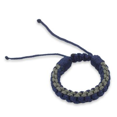 Men's wristband bracelet, 'Awindazi Mist' - Men's Hand Crafted Cord Wristband Bracelet Blue and Grey