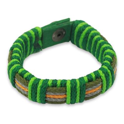 Men's wristband bracelet, 'Kente Green' - Men's Hand Crafted Cord Wristband Bracelet in Green