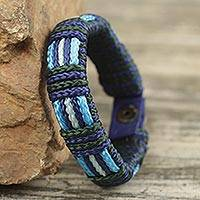 Men's wristband bracelet, 'Kente Ocean'