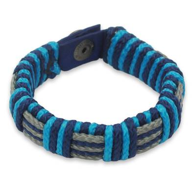 Men's wristband bracelet, 'Blue Kente' - Men's Hand Crafted Cord Wristband Bracelet in Blue and Grey
