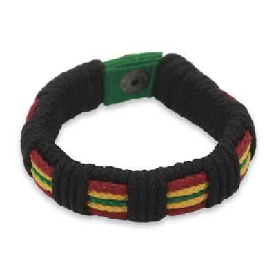 Men's wristband bracelet, 'Reggae Kente' - Men's Hand Crafted Cord Wristband Bracelet Reggae Colors