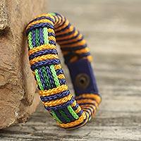 Men's wristband bracelet, 'Gratitude Kente' - African Men's Bracelet Hand Crafted Cord Wristband