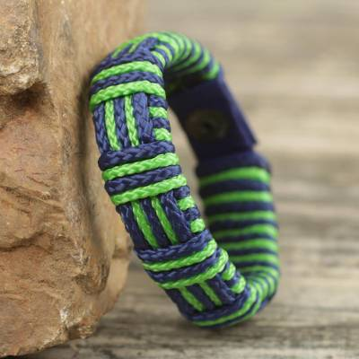 Men's wristband bracelet, 'Kente Friendship' - Kente Inspired Handcrafted Men's Wristband Bracelet