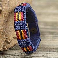 Men's wristband bracelet, 'Kente Voyager' - Handmade Men's Cord Wristband Bracelet from West Africa