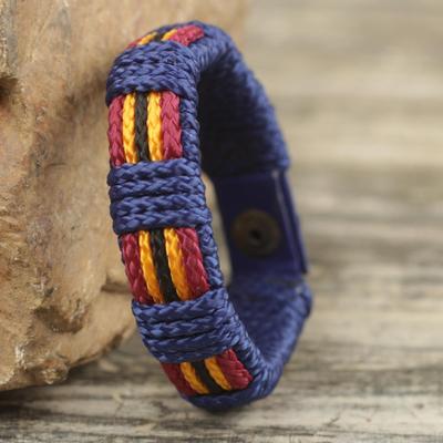 Men's wristband bracelet, 'Kente Voyager' - Handmade Men's Cord Wristband Bracelet from West Africa