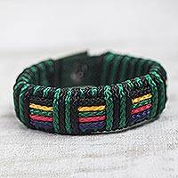 Men's wristband bracelet, 'Kente Spirit' - Artisan Crafted colourful Men's Wristband Bracelet