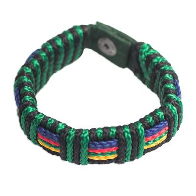 Men's wristband bracelet, 'Kente Spirit' - Artisan Crafted Colorful Men's Wristband Bracelet