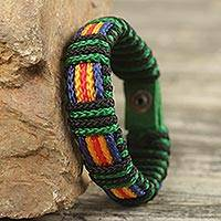 Men's wristband bracelet, 'Kente Expedition' - African Men's Cord Bracelet Hand Crafted Wristband